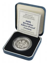 1990 Silver Proof £5 Coin Queen Mother 90th for sale